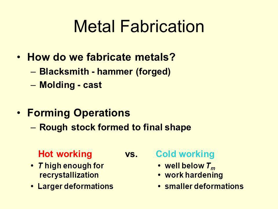 Metal Fabrication How do we fabricate metals Forming Operations