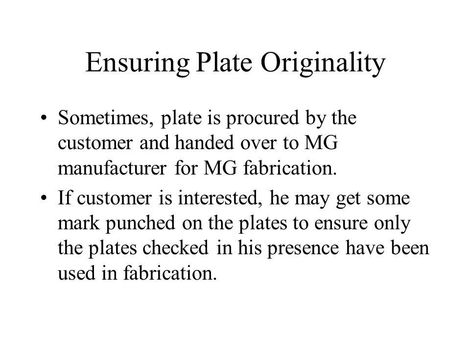 Ensuring Plate Originality