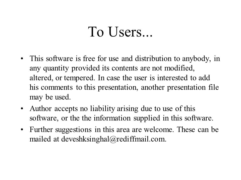 To Users...
