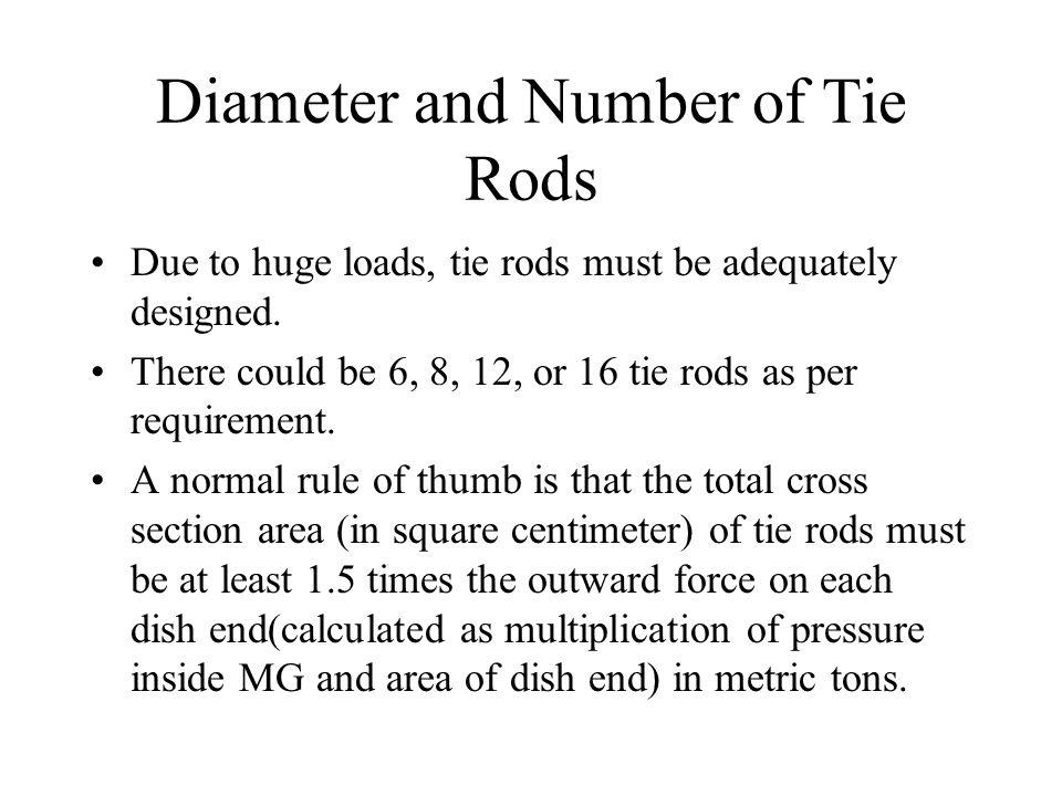 Diameter and Number of Tie Rods