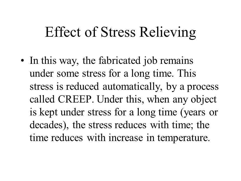 Effect of Stress Relieving