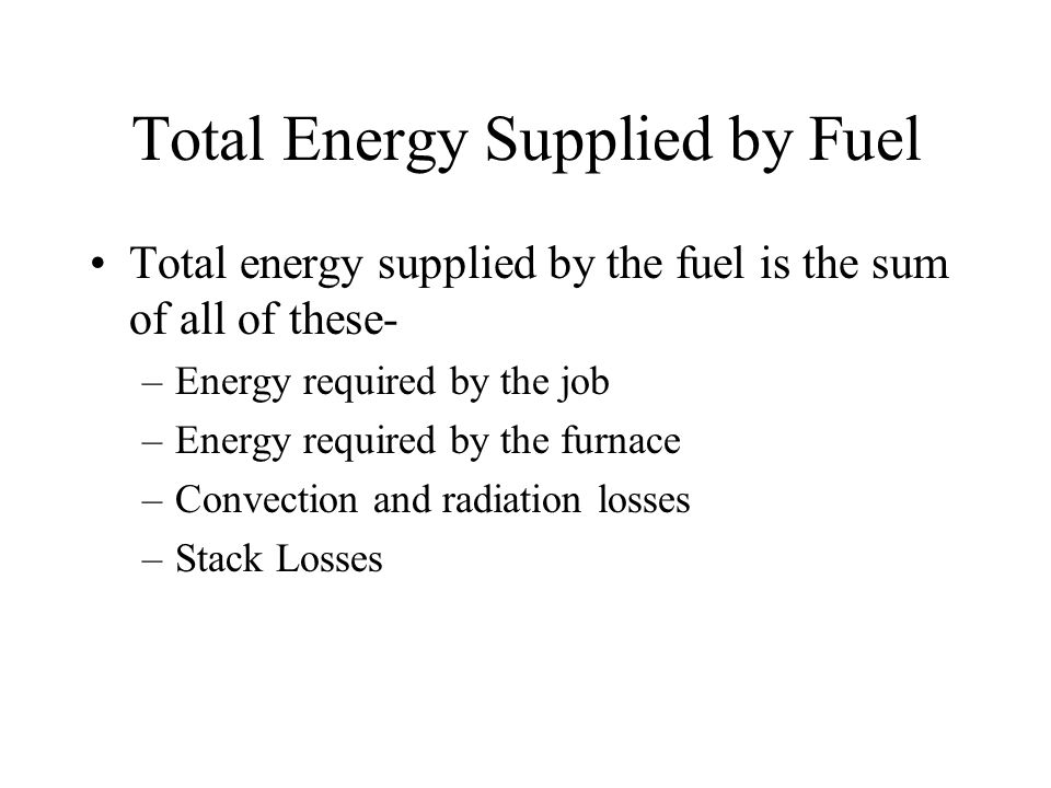 Total Energy Supplied by Fuel