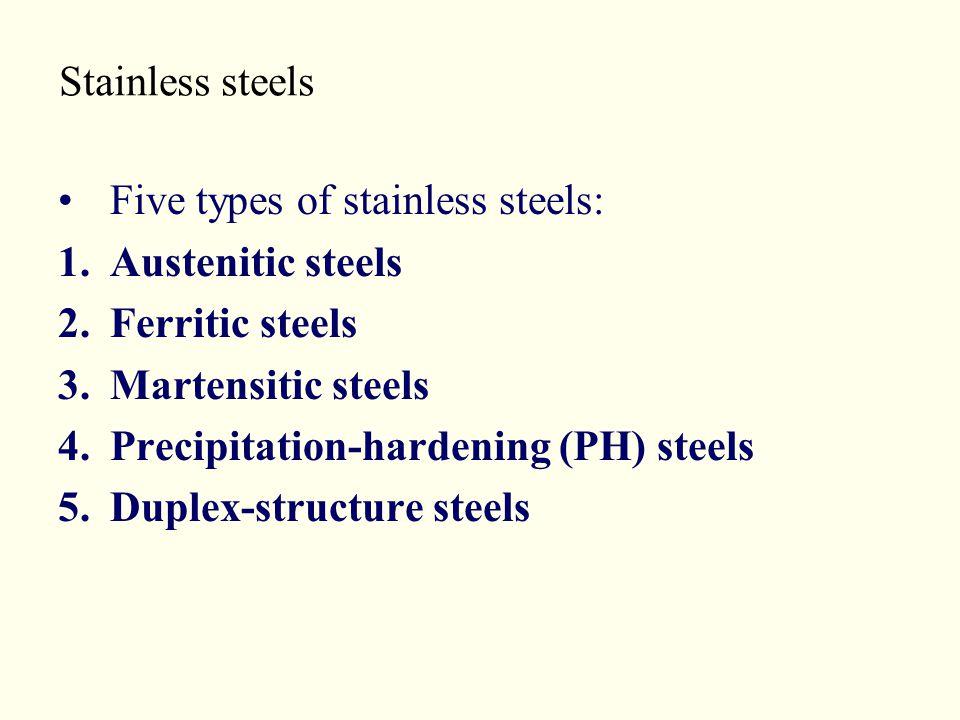 Stainless steels Five types of stainless steels: Austenitic steels. Ferritic steels. Martensitic steels.