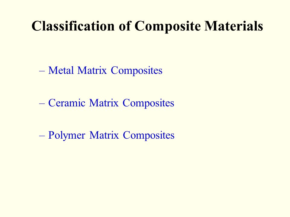 Classification of Composite Materials