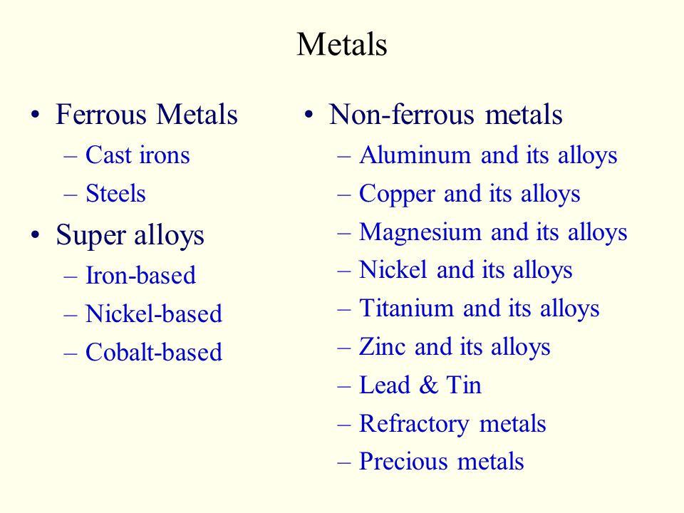 Metals Ferrous Metals Super alloys Non-ferrous metals Cast irons