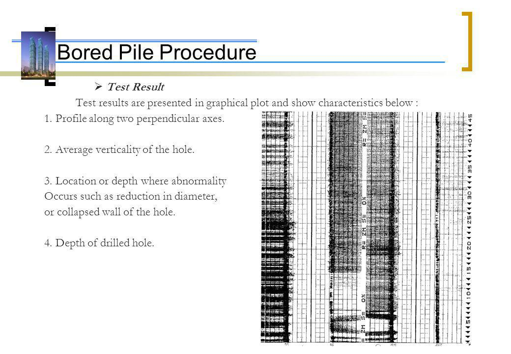 Bored Pile Procedure 1. Profile along two perpendicular axes.
