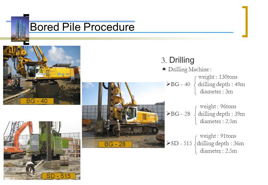 Bored Pile Procedure 3. Drilling  Drilling Machine : weight : 130tons