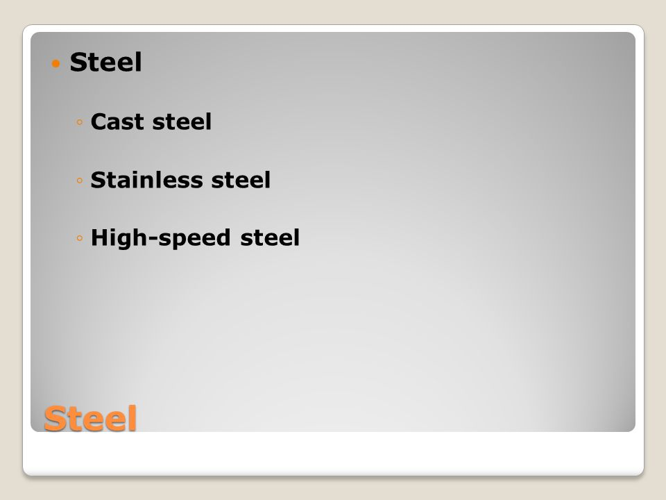 Steel Cast steel Stainless steel High-speed steel Steel