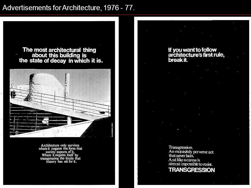 Advertisements for Architecture, 1976 - 77.