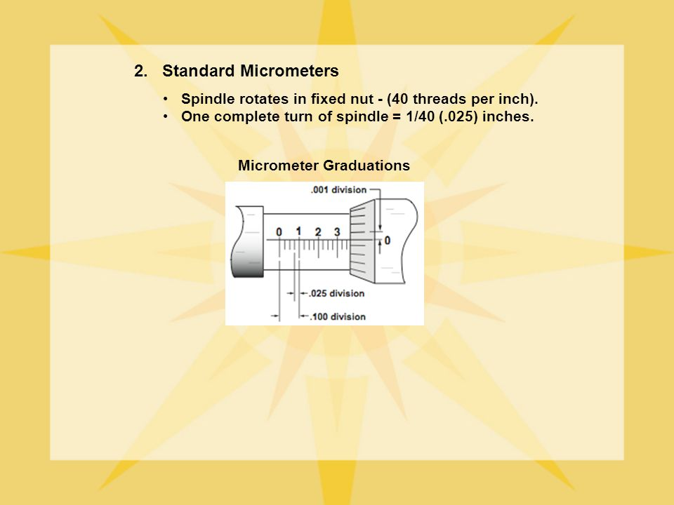 2. Standard Micrometers Spindle rotates in fixed nut - (40 threads per inch). One complete turn of spindle = 1/40 (.025) inches.