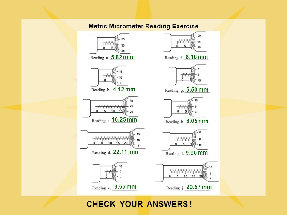 CHECK YOUR ANSWERS ! Metric Micrometer Reading Exercise 5.82 mm