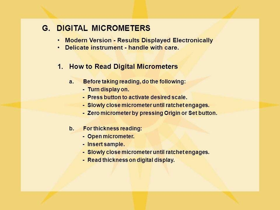 G. DIGITAL MICROMETERS 1. How to Read Digital Micrometers
