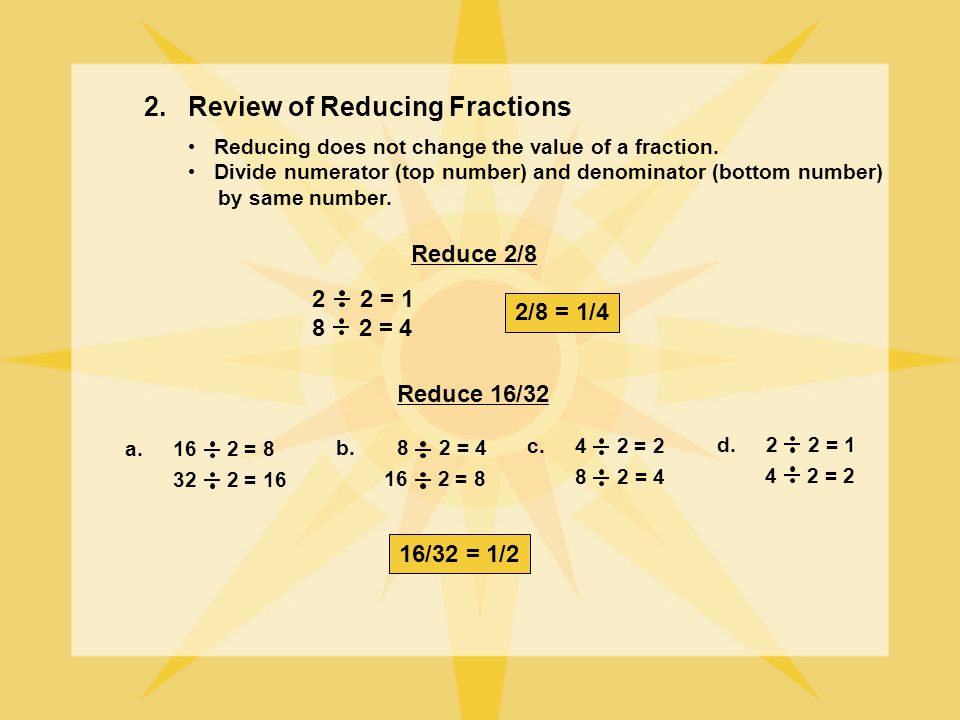 2. Review of Reducing Fractions