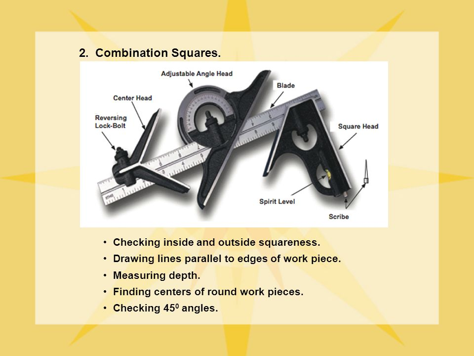 2. Combination Squares. Checking inside and outside squareness.