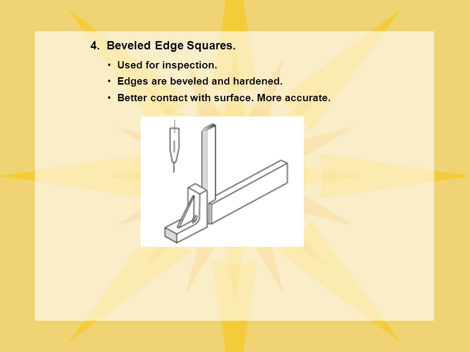 4. Beveled Edge Squares. Used for inspection.