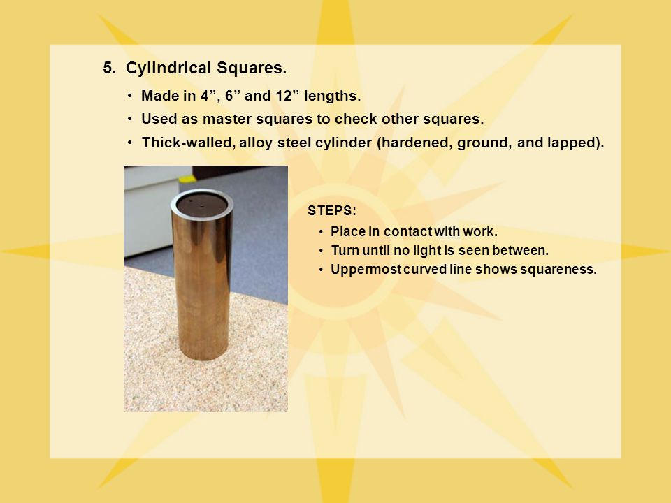 5. Cylindrical Squares. Made in 4 , 6 and 12 lengths.