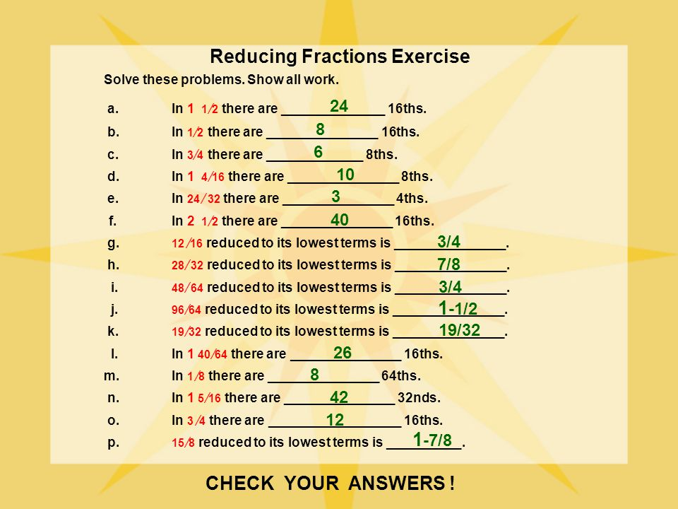 Reducing Fractions Exercise