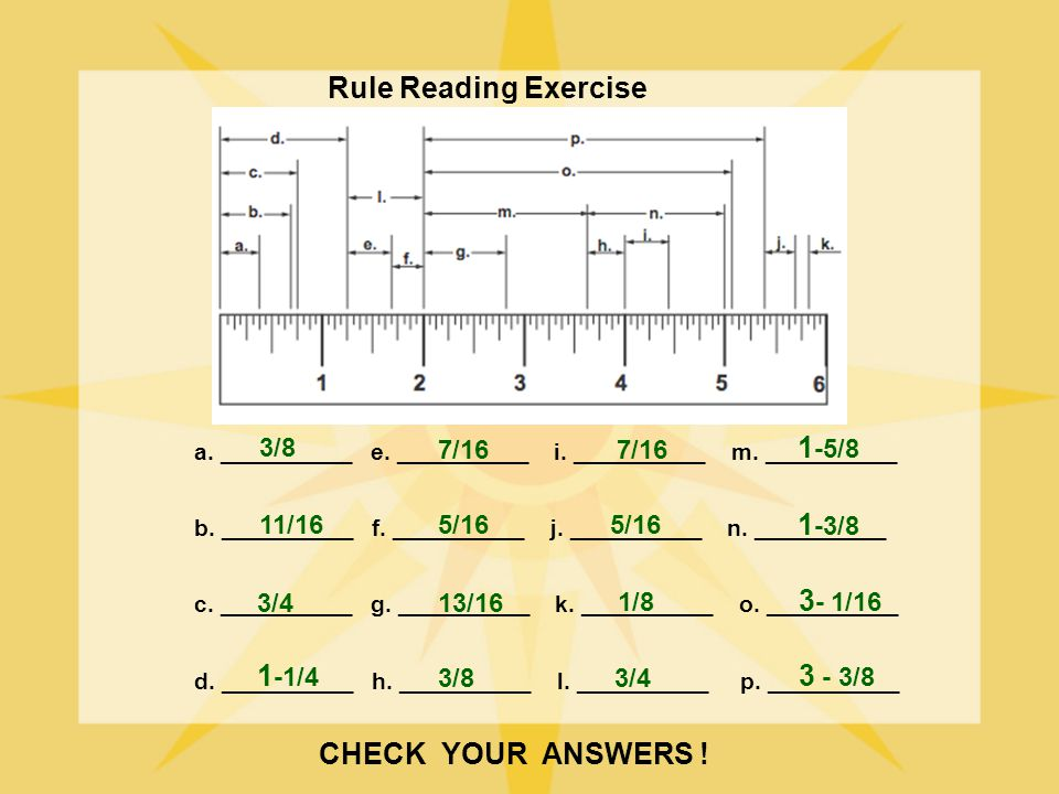 Rule Reading Exercise 1-5/8 1-3/8 3- 1/16 1-1/4 3 - 3/8