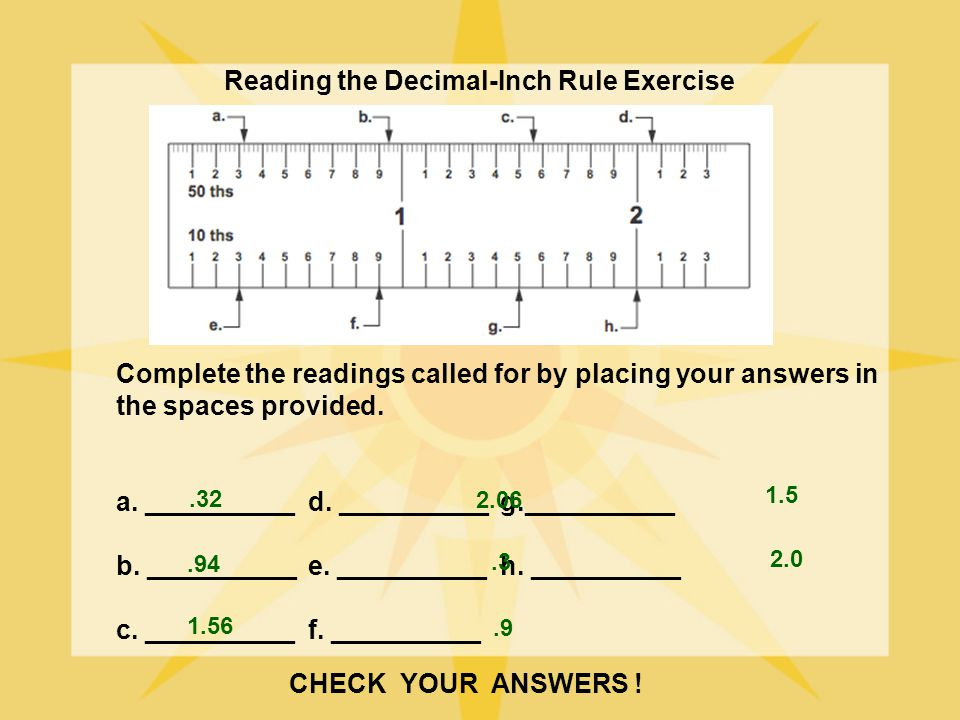 Reading the Decimal-Inch Rule Exercise