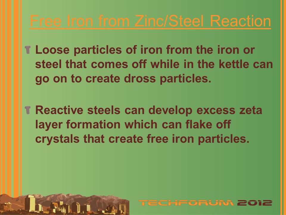 Free Iron from Zinc/Steel Reaction
