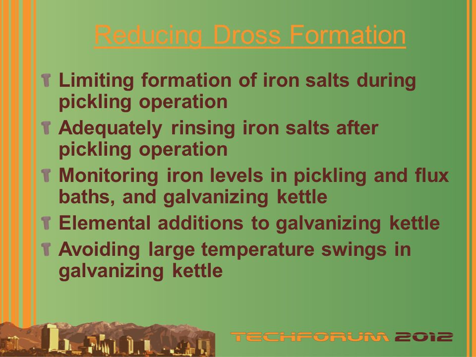 Reducing Dross Formation