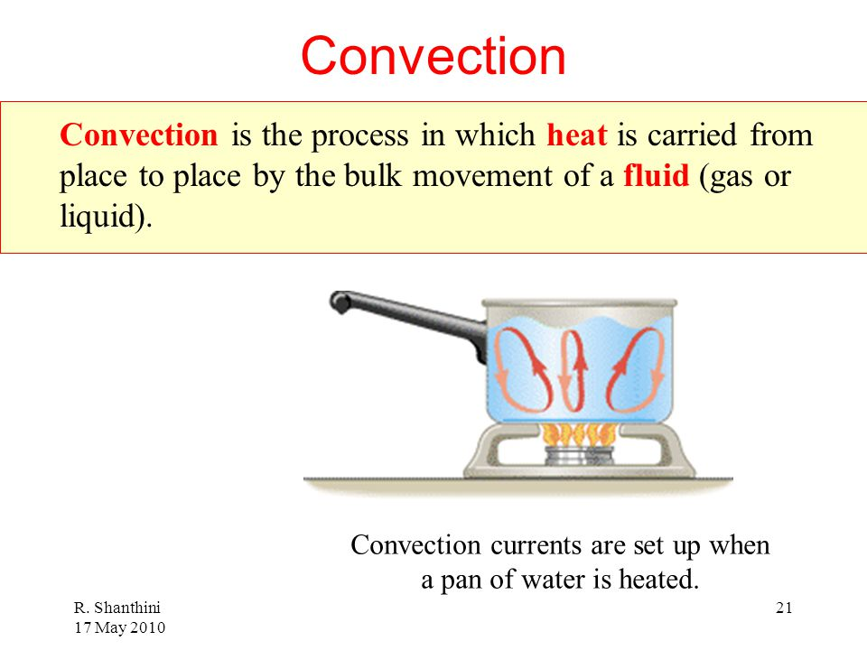 Convection currents are set up when a pan of water is heated.