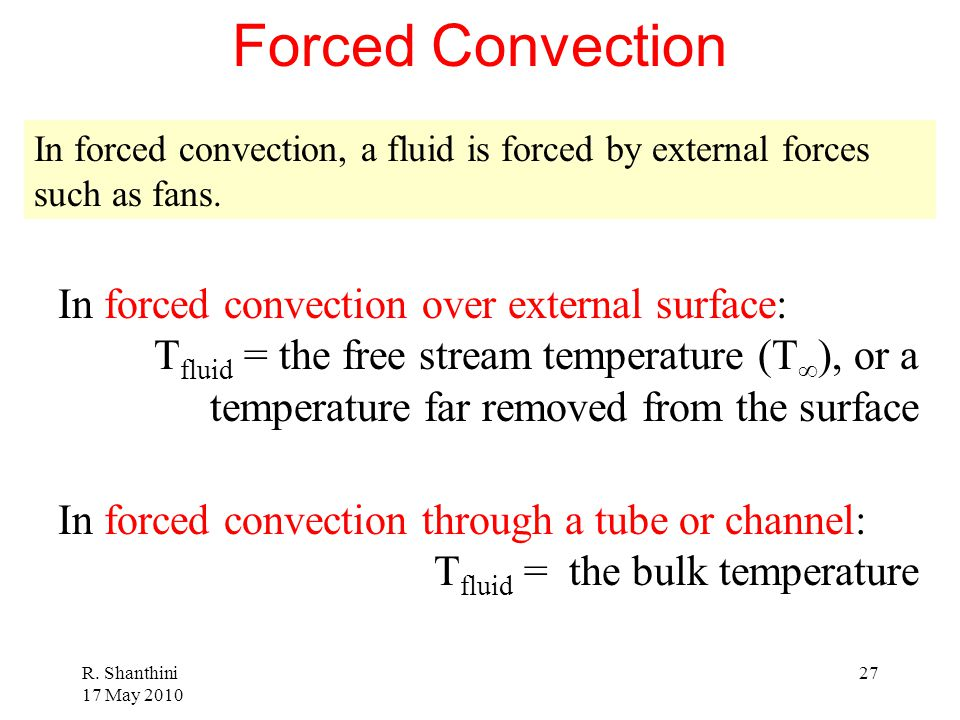 Forced Convection In forced convection over external surface: