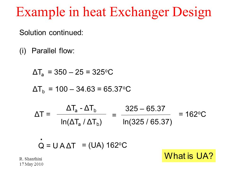 Example in heat Exchanger Design