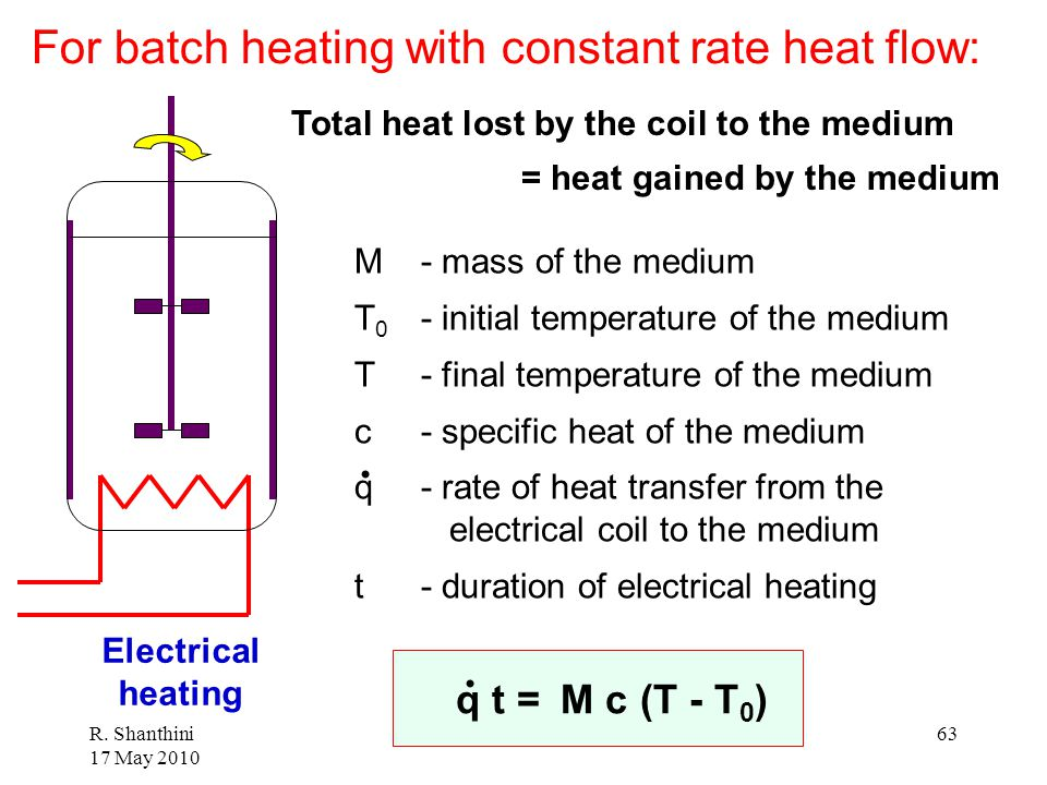 For batch heating with constant rate heat flow: