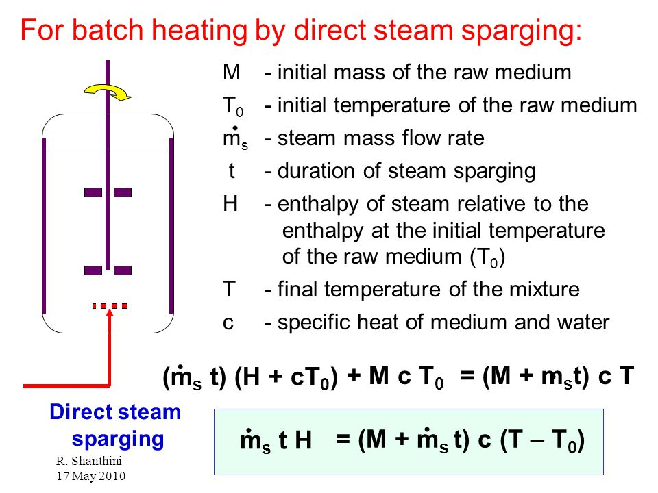 For batch heating by direct steam sparging:
