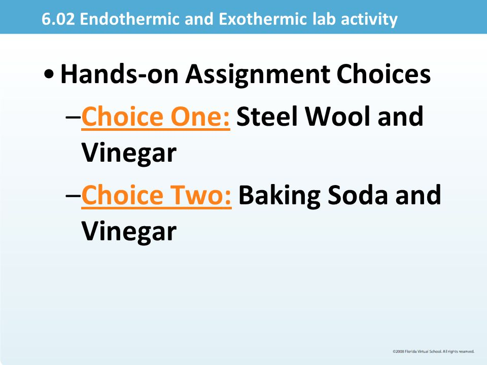 6.02 Endothermic and Exothermic lab activity