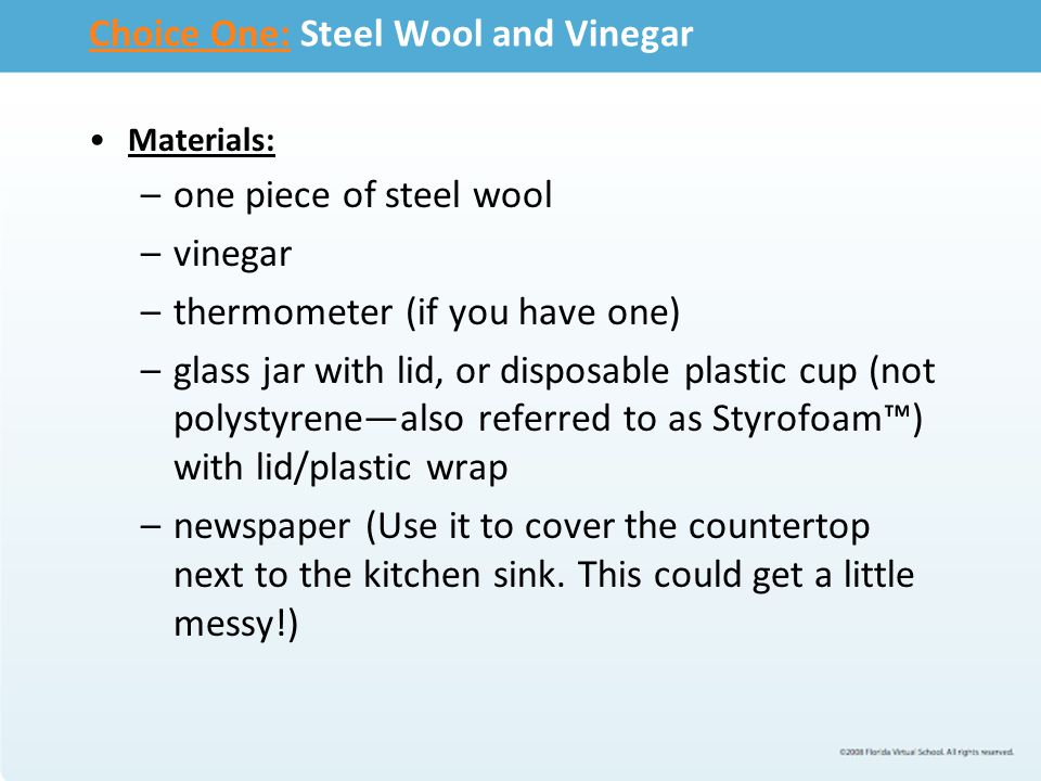 Choice One: Steel Wool and Vinegar