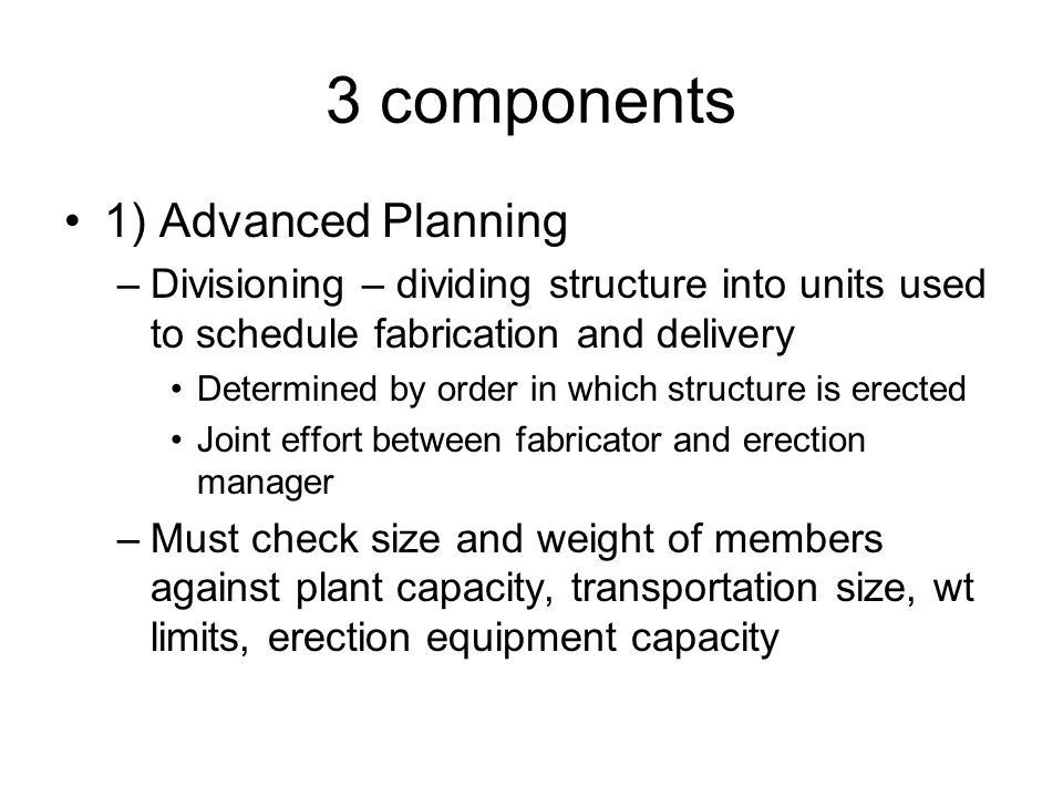 3 components 1) Advanced Planning