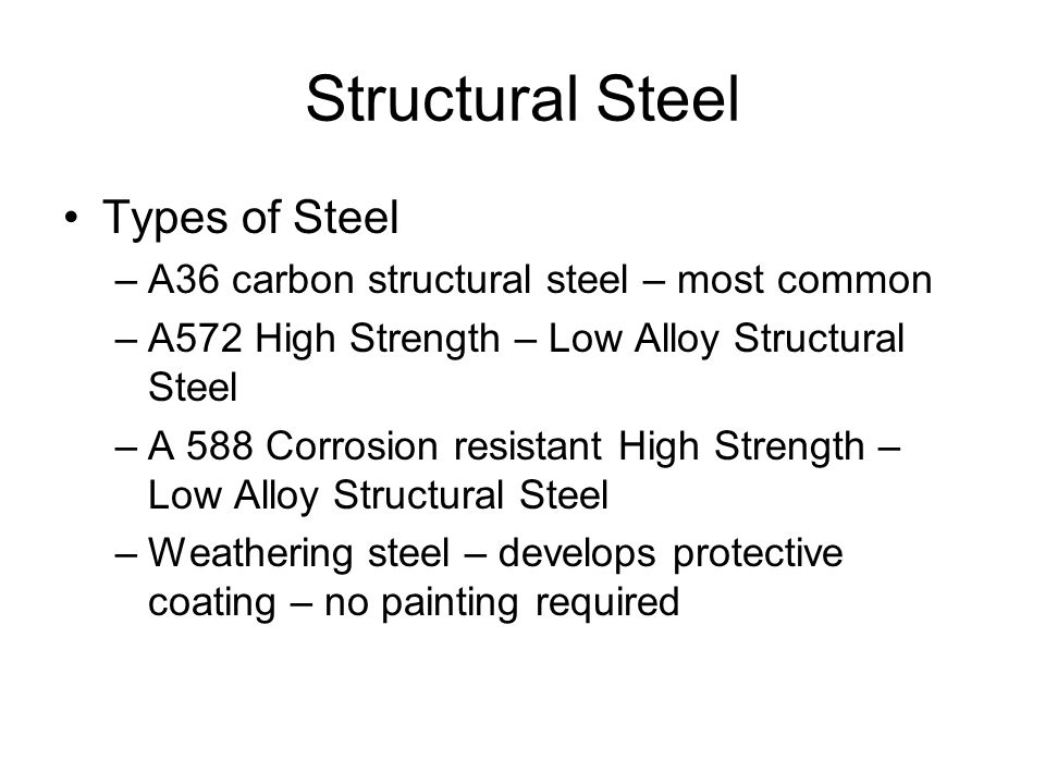 Structural Steel Types of Steel