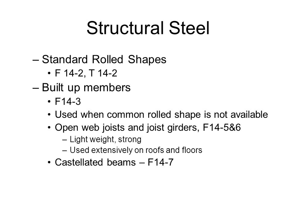 Structural Steel Standard Rolled Shapes Built up members