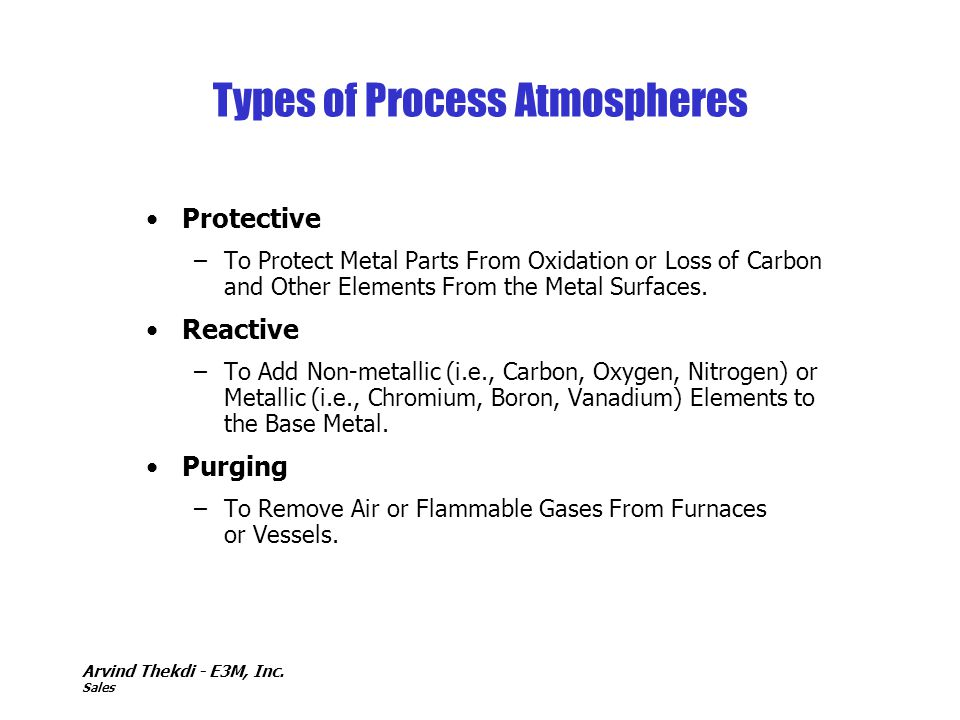Types of Process Atmospheres