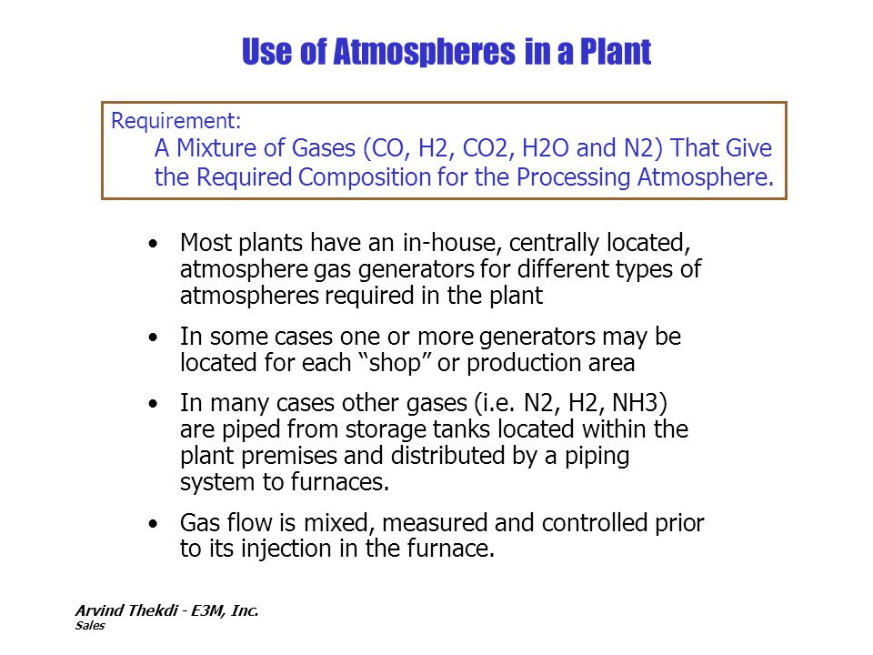 Use of Atmospheres in a Plant