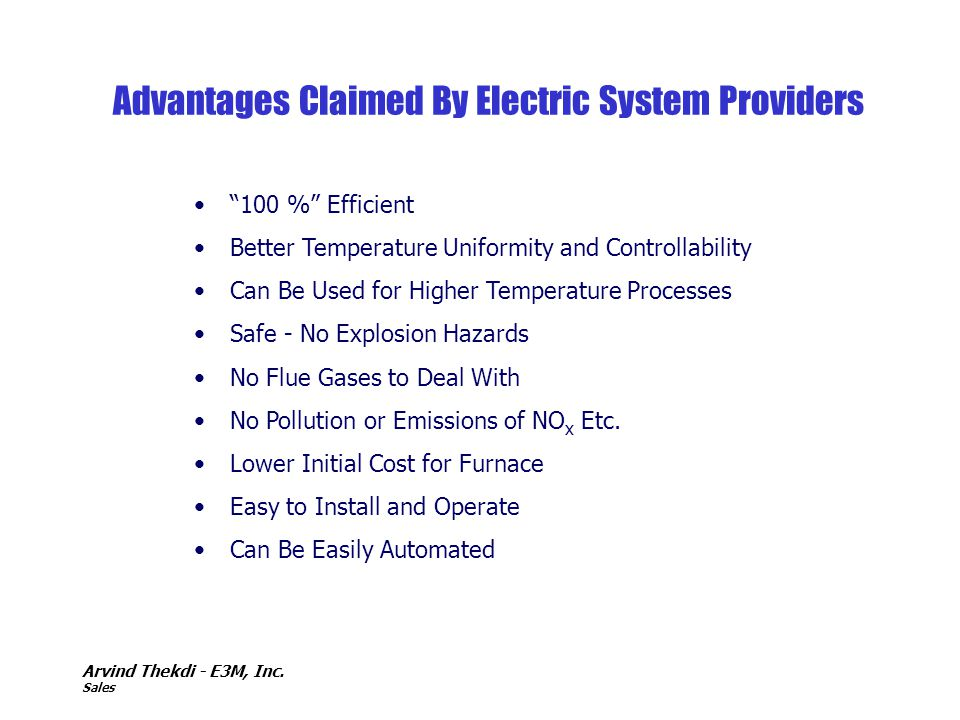 Advantages Claimed By Electric System Providers