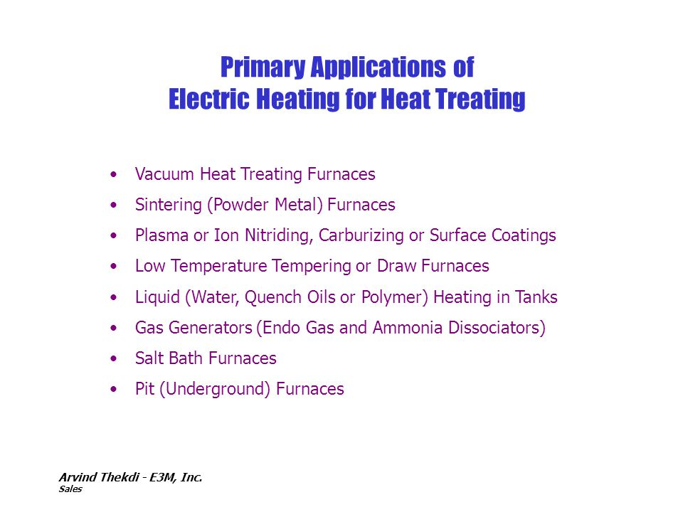 Primary Applications of Electric Heating for Heat Treating