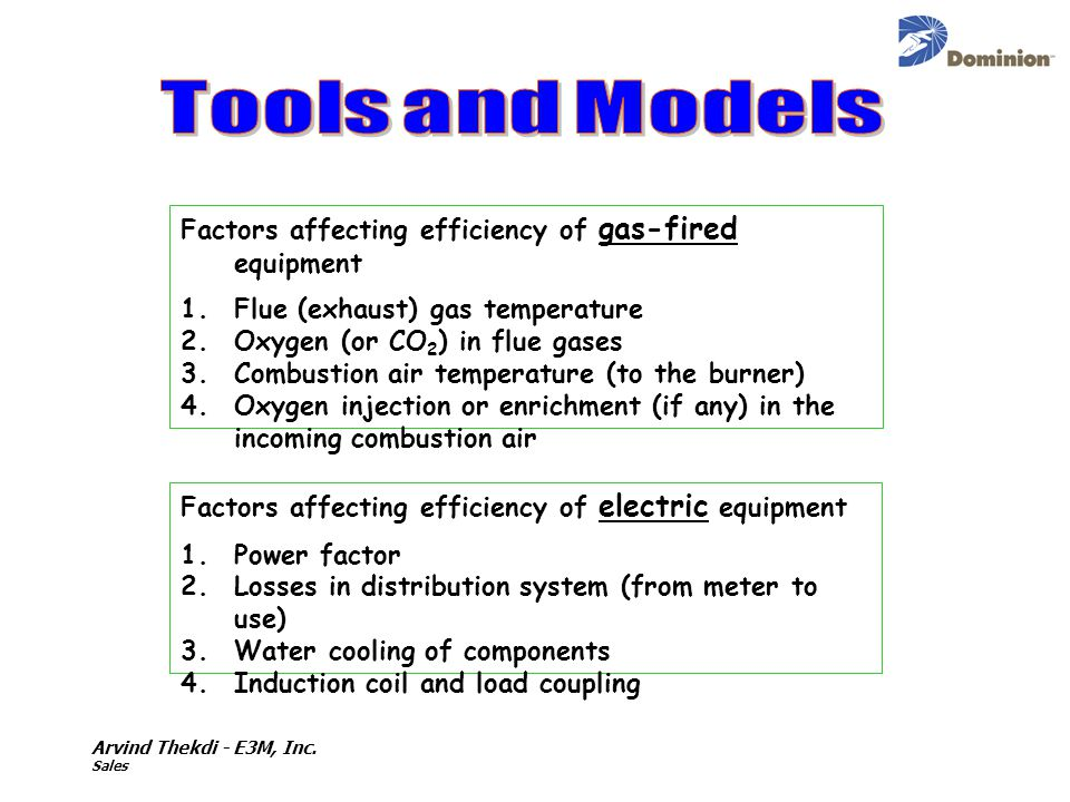 Factors affecting efficiency of gas-fired equipment