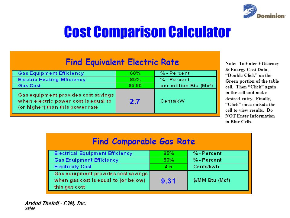 Cost Comparison Calculator