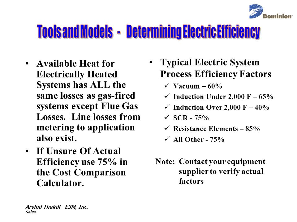 Tools and Models - Determining Electric Efficiency