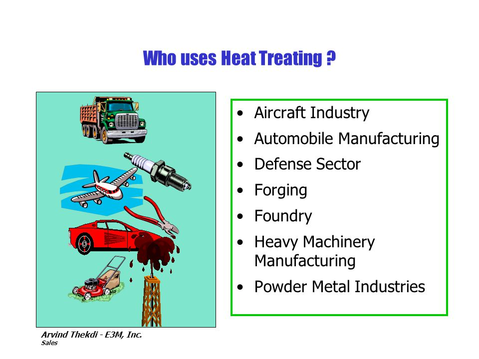 Who uses Heat Treating Aircraft Industry Automobile Manufacturing