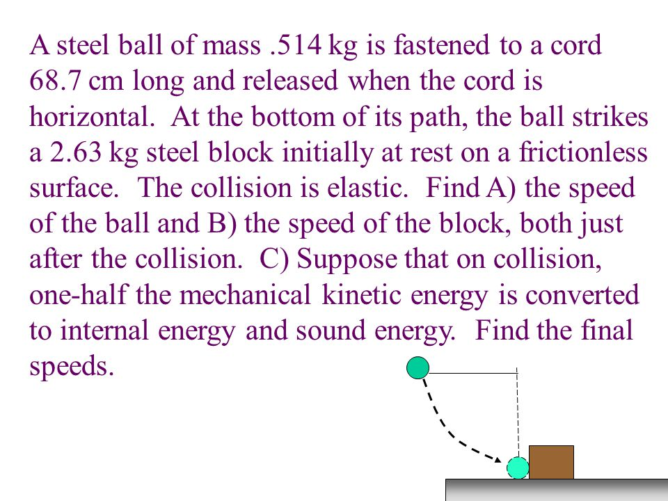 A steel ball of mass. 514 kg is fastened to a cord 68