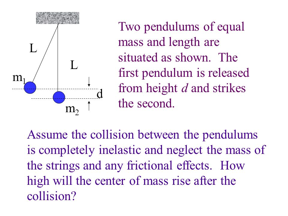 Two pendulums of equal mass and length are situated as shown