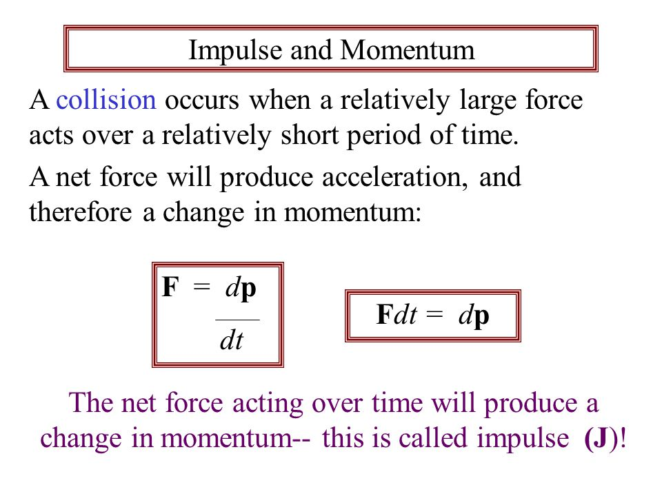 Impulse and Momentum A collision occurs when a relatively large force acts over a relatively short period of time.