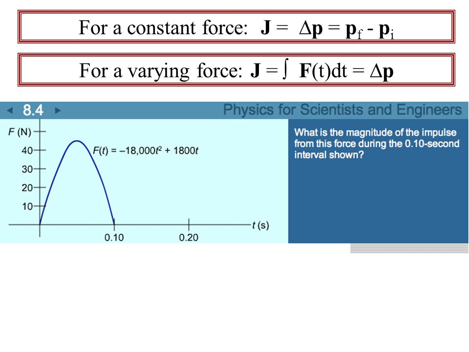 For a constant force: J = ∆p = pf - pi