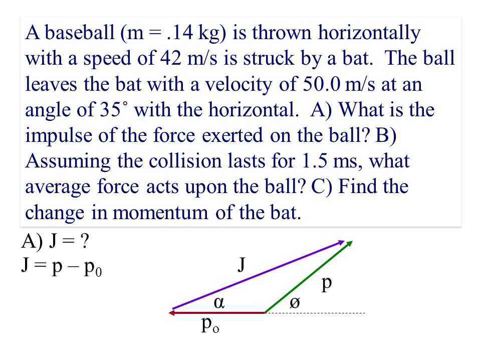 A baseball (m = .14 kg) is thrown horizontally with a speed of 42 m/s is struck by a bat. The ball leaves the bat with a velocity of 50.0 m/s at an angle of 35˚ with the horizontal. A) What is the impulse of the force exerted on the ball B) Assuming the collision lasts for 1.5 ms, what average force acts upon the ball C) Find the change in momentum of the bat.