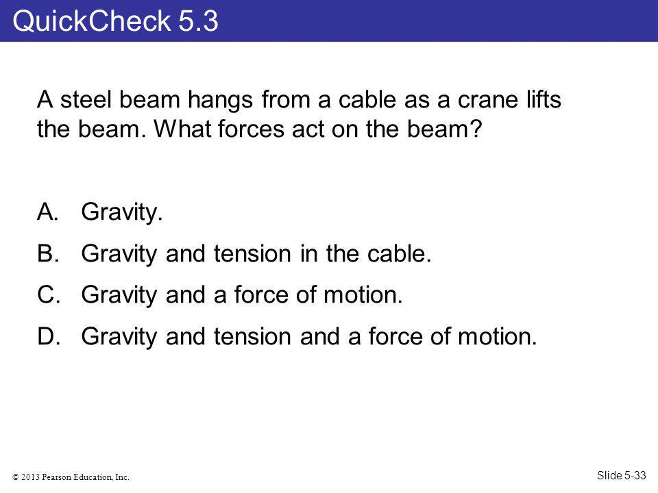 QuickCheck 5.3 A steel beam hangs from a cable as a crane lifts the beam. What forces act on the beam