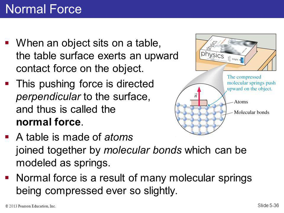 Normal Force When an object sits on a table, the table surface exerts an upward contact force on the object.